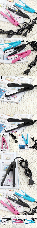 Hot item!US Plug Mini Travel Ceramic Hair Crimper Curl Straightener Flats Iron Perm Splint