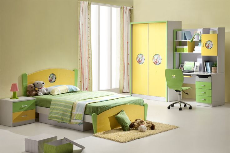 Awesome Children Bed Design Part - 4: Kids Bedroom, Charming Kids Bedroom Furniture Design With Decorating Solid  Color Wall Idea Wooden Single Bed Pillow Bedding Concrete Floor Wardrobeu2026