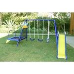"The Sportspower Almansor Metal Swing, Slide and Trampoline Set features a steel frame and comes with a 42"" trampoline."