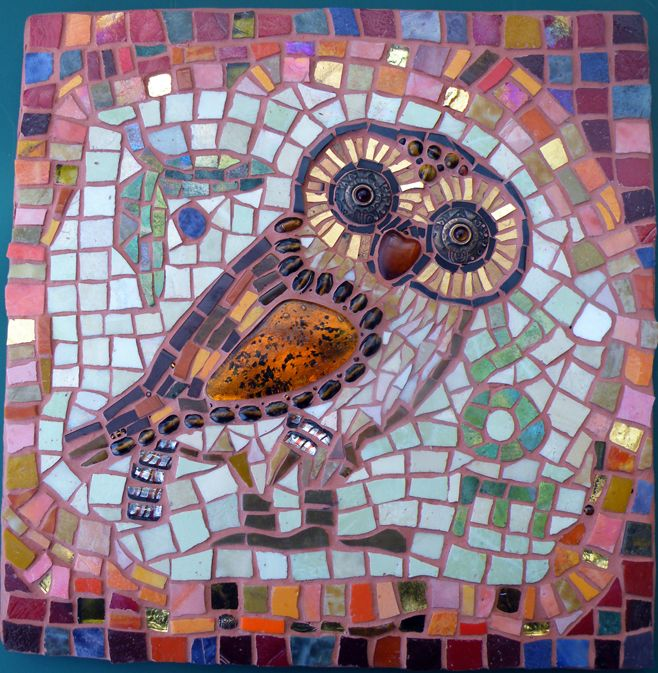 'Athene's Owl Mosaic' by Michele McCrea 1 of the pieces she did for the' Mythical Mystical Me Exhibition' - an exhibition of works by Michele McCrea - Mosaics/ Kitty Stenecker - Sculpture & Shari-Lee Russell - Ceramics at the 'Treehouse Gallery' Aldinga Beach in conjunction w' SALA - South Australian Living Artists' Festival in August 2011.<3<3<3