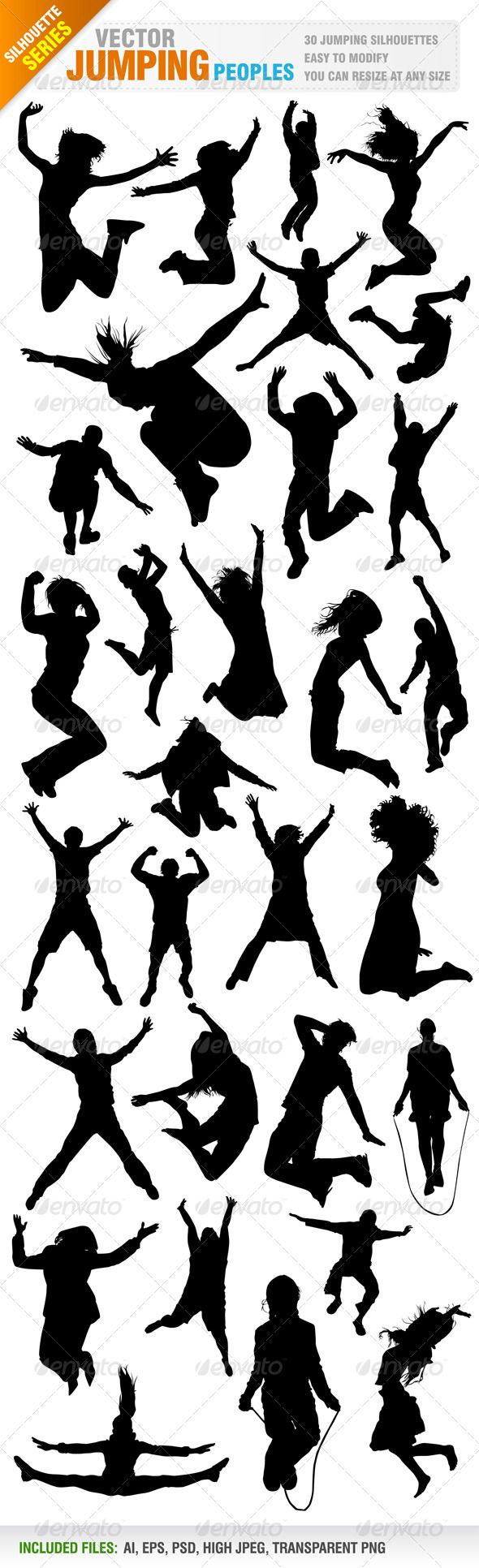 30 Jumping Silhouettes #GraphicRiver Vector set of 30 jumping people silhoeuttes. silhouette included in different layer for ai, You can see other silhouettes from my portfolio..