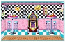 50's party theme. Soda Shop Insta-Theme to set the scene for your very own soda shop wherever, you may choose. 1950s retro color schemes were alive with pink and turquoise cars, decor, clothes, and more. This soda shop setting is no exception. You will like these easy-to-hang plastic sheets, that turn the wall or walls of any room into a soda shop themed party room in an instant.  Includes 5 pieces of wall hanging favorites. Create the entire 30 feet x 8 feet wall to look like a soda shop…