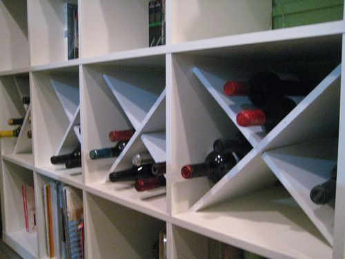 Ikea EXPEDIT wine storage hack #diy - in kitchen book where E's kitchen is. Coffee station on top. Add electrical outlet.