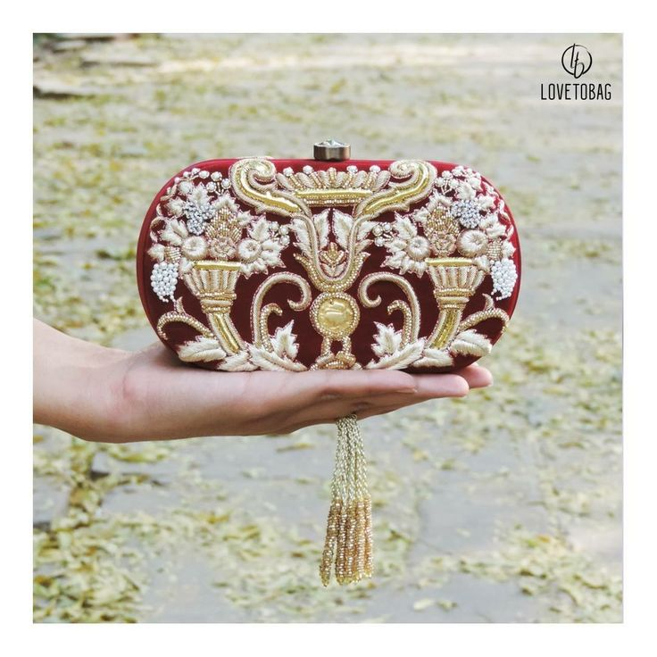 Shop Now at: www.lovetobag.com  #Pearl #Sale #Trendy #Fashion #Chic #MadeInIndia #BucketPouch#HandEmbroidered #BagLove #Bags #Clutch #Clutches #Red #Gold #Sequins #Lovetobag