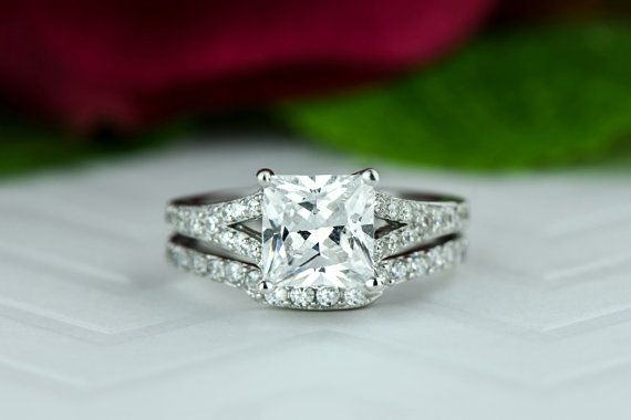 2.25 ctw Princess Cut Bridal Set Split Shank by TigerGemstones                                                                                                                                                                                 More