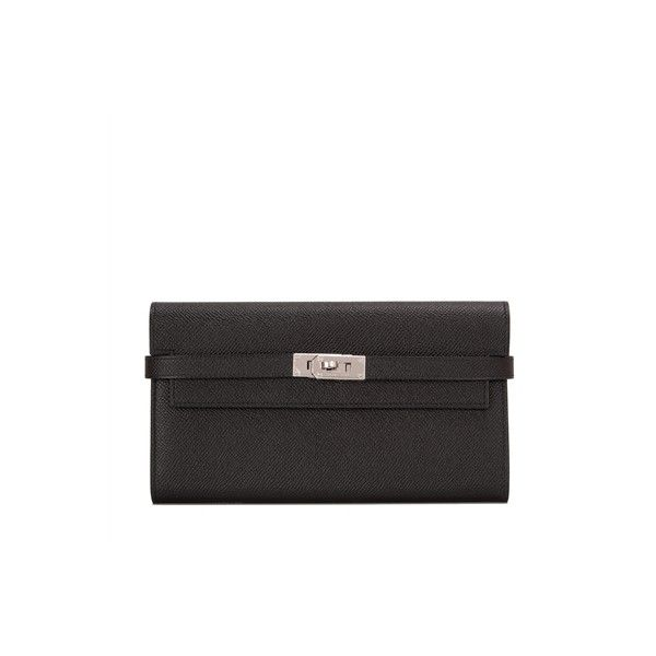 Pre-Owned Hermes Black Epsom Kelly Longue Wallet ($4,875) ❤ liked on Polyvore featuring bags, wallets, black, zipper wallet, genuine leather wallet, leather bags, zip lock bags and hermes wallet