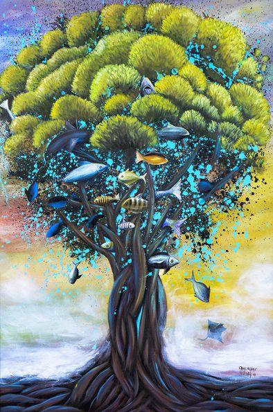 Tipo de Obra: pintura em acrílica sobre painel / Autor: Carlinhos Müller / Ano: 2015 / Série: Submerso / Título: Pé de Peixe / Descrição: Nestas águas, tudo que se planta submerge. / Tiragem: 50