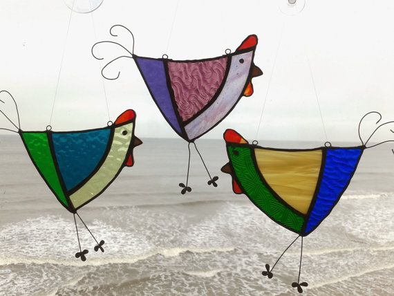 Funky stained glass chickens by BabulousGlass on Etsy, £13.00