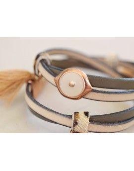 Βραχιόλι Beige Leather & Tassels