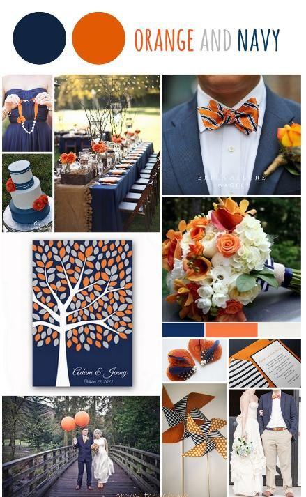 Tableau d'inspiration couleur orange et bleu marine Mood board orange and navy  www.around-the-wedding.blogspot.be
