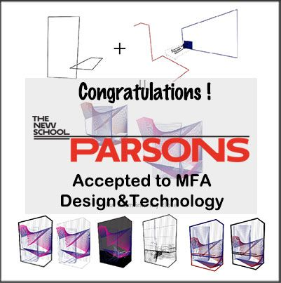 Congratulations!!  We're proud to announce that NY ART STUDIO's Graduate Prep. Program student, Mina L. got accepted into Design & Technology MFA program in Parsons The New School for 2017 Fall Semester!!