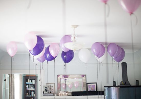 purple floating balloons | http://www.100layercake.com/blog/2013/02/12/french-inspired-purple-pink-bridal-shower/
