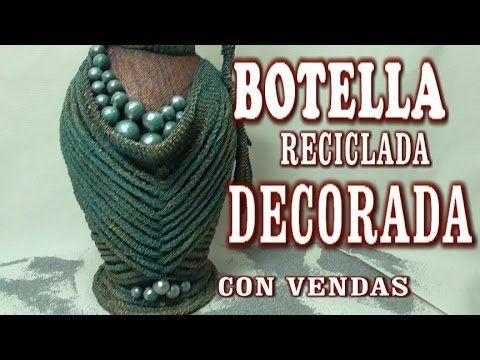 DIY JARRON HECHO CON BOTELLA DE CRISTAL - VASE MADE WITH GLASS BOTTLES