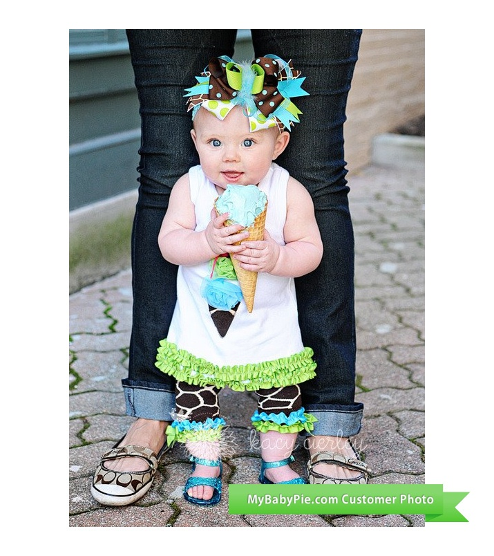Wild Child Mira Shaye, 7 months, loves ice cream! So, of course, she also loves her Ice Cream Tunic with Giraffe Capri Leggings by Mud Pie $29.95 http://www.mud-pie-baby.com/wild-child-ice-cream-cone-tunic-with-giraffe-capri-by-mud-pie-19453