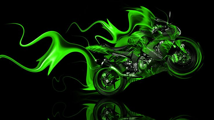 Groene Kawasaki kunst