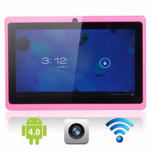 """Touch Screen Tablet PC Pink This tablet comes with a 7"""" screen, android 4.0 system, 512M RAM, 4GB memory, t-flash, 5 point touch screen, 0.3 mega pixel camera, 800x480 resolution, and Wi-Fi."""