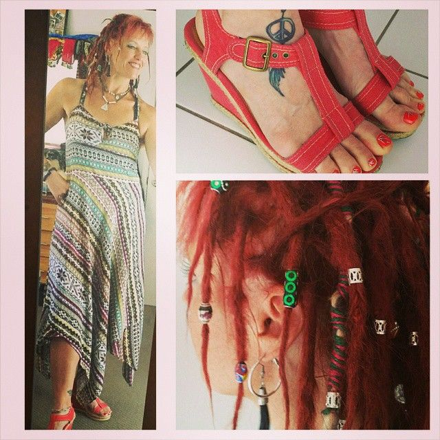 Bright and summery today for my daughter's graduation. #Styling my favorite summer cross backed dress along with my #platformshoes, #dreads are free. #fashion #hippiefashion #bohemiamfashion #bohemian #hippie #hippieatheart #dreadlifestyle #dreadcode #mydreadlocks #dreadlocks #dreadmama #dreadlifestyle