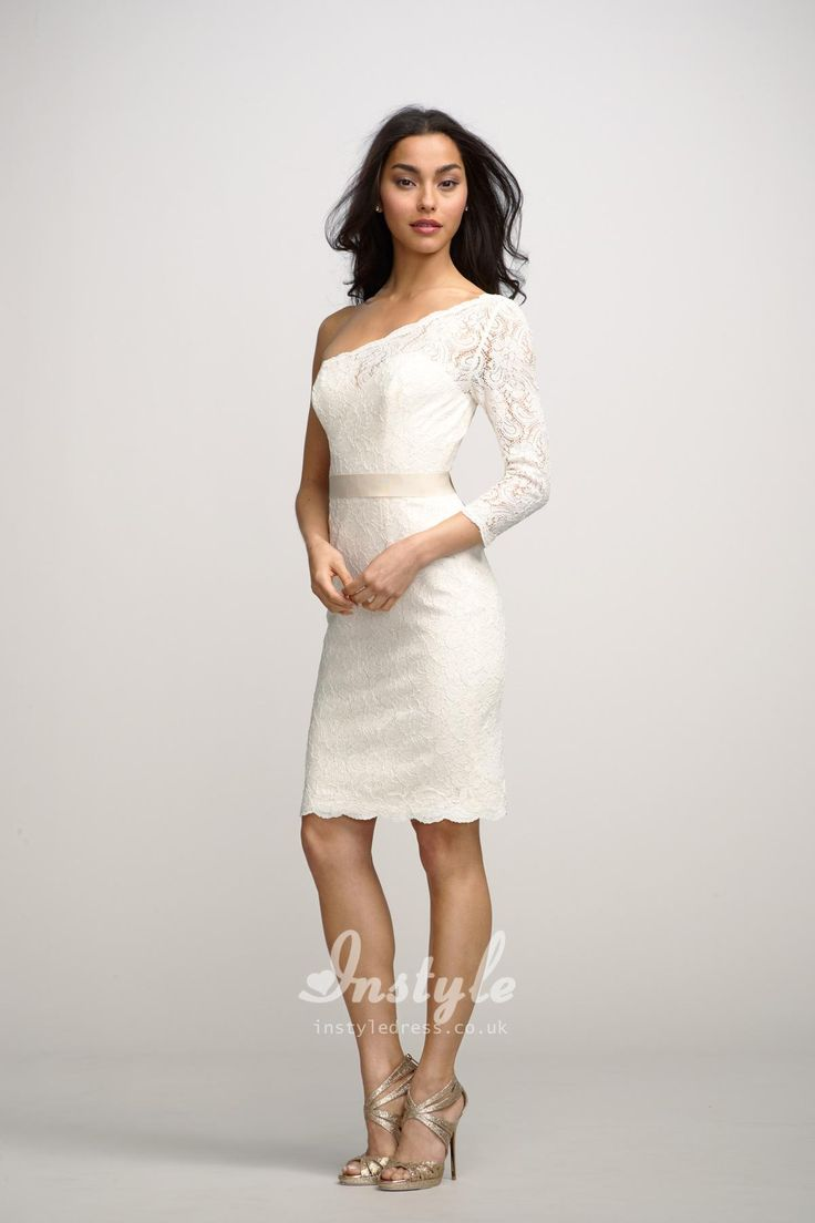 Ivory One Shoulder Lace Short Bridesmaid Dress UK with 3/4 Length Sleeves
