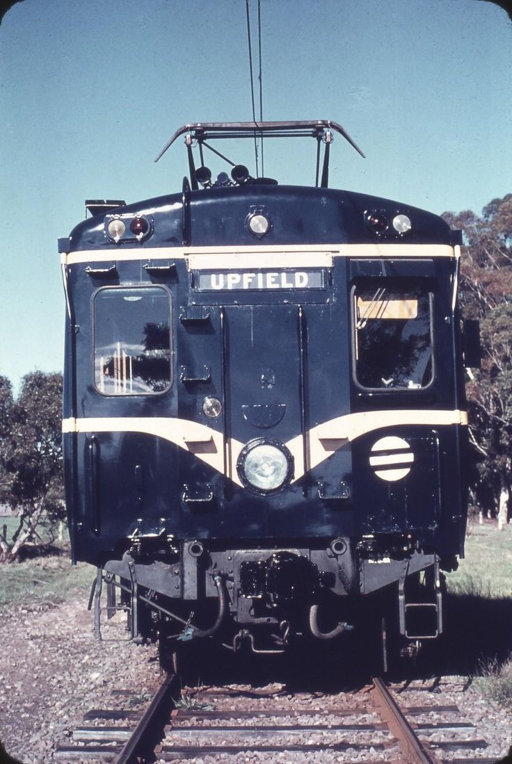 "The pointy end of one of the VR's fleet of Harris ""Blue"" trains. The Harris trains were the first steel-bodied Electric Multiple Unit train to operate on the suburban railway network of Melbourne. They were introduced in 1956 by the Victorian Railways, and last operated in 1988."