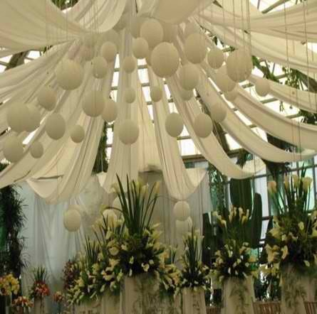Pretty draping with Chinese lanterns  pure white, elegant, bridal wedding or anniversary in silvers or golds