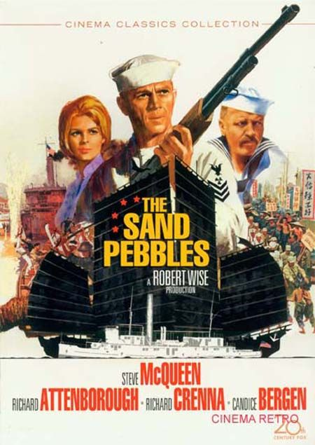 """The Sand Pebbles (1966) Engineer Jake Holman arrives aboard the gunboat U.S.S. San Pablo, assigned to patrol a tributary of the Yangtze in the middle of exploited and revolution-torn 1926 China. His iconoclasm and cynical nature soon clash with the """"rice-bowl"""" system which runs the ship and the uneasy symbiosis between Chinese and foreigner on the river."""