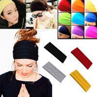 Soft Women Elastic Stretch Running Wide Yoga Headband Turban Head Wrap Hairband