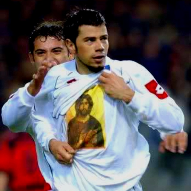 The international Serbian soccer player Mateja Kežman is an aggressive player, yet off the field he is a devout Orthodox Christian. He displays this on the Turkish soccer field when he celebrates wearing a shirt with an icon of Christ, even though he plays for the Turkish side Fenerbahce.