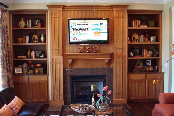 Fireplace + Entertainment Center = Genius. Love this combo