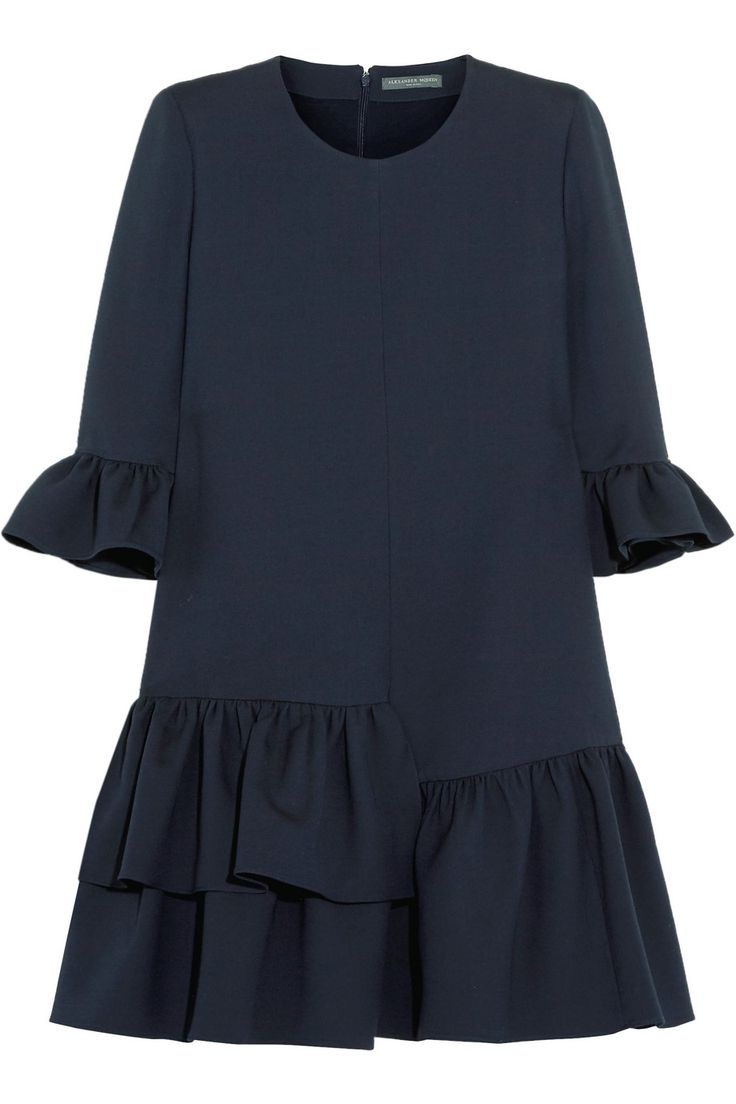 Alexander McQueen | Ruffled wool-blend mini dress | NET-A-PORTER.COM