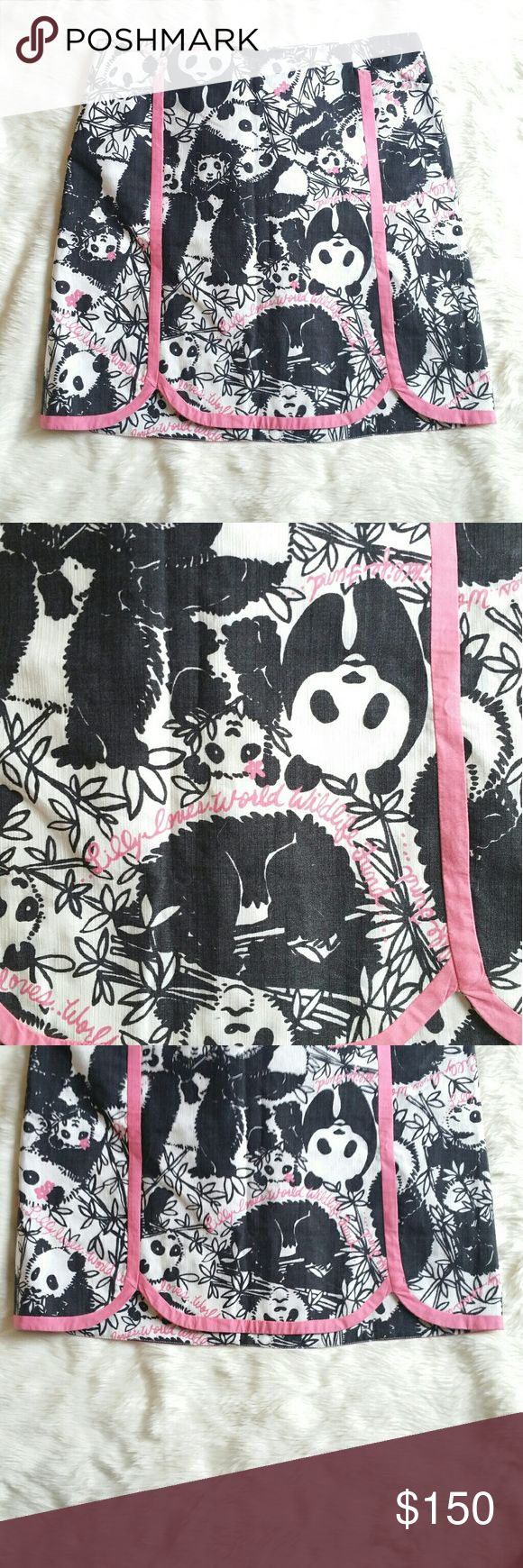 Lilly Pulitzer Pandamonium HTF WWF Skirt Excellent condition  No stains or holes  Hard to find print!   Beautiful skirt  A Lilly Pulitzer for the World Wildlife Federation  Has pockets and back zip closure with button.   Length is 19in  Waist flat from hip to hip is 16in Lilly Pulitzer Skirts