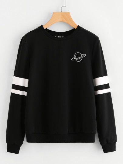 Sweatshirt mit Planetmuster - German SheIn(Sheinside)  e525bae17