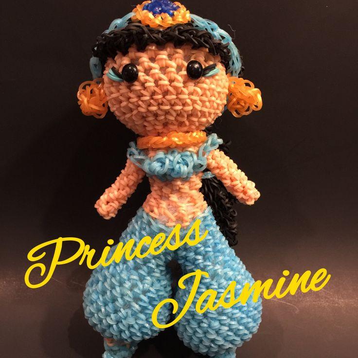 Disney's Aladdin Princess Jasmine Rubber Band Figure, Rainbow Loom Loomigurumi, Rainbow Loom Disney by BBLNCreations on Etsy  Loomigurumi Amigurumi Rainbow Loom
