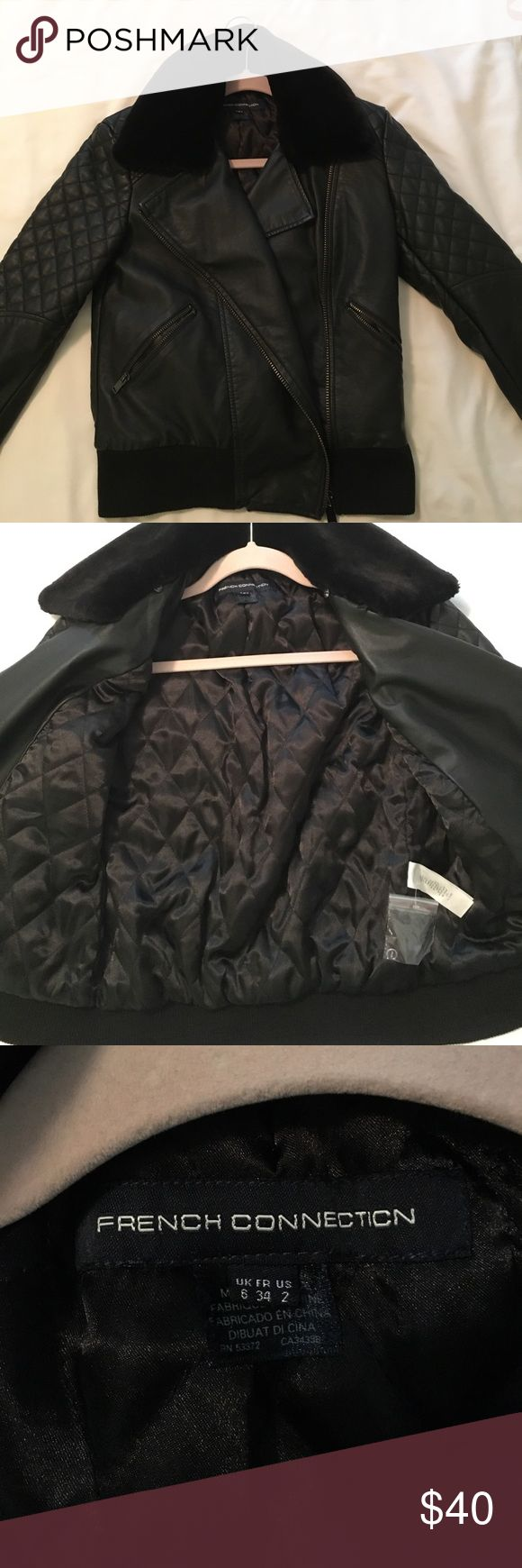 French Connection Black faux leather jacket Re-poshing. The sleeves were too long for me so I'm selling. Really cute jacket! Has removable faux fur collar and has quilted detail on the shoulders. French Connection Jackets & Coats