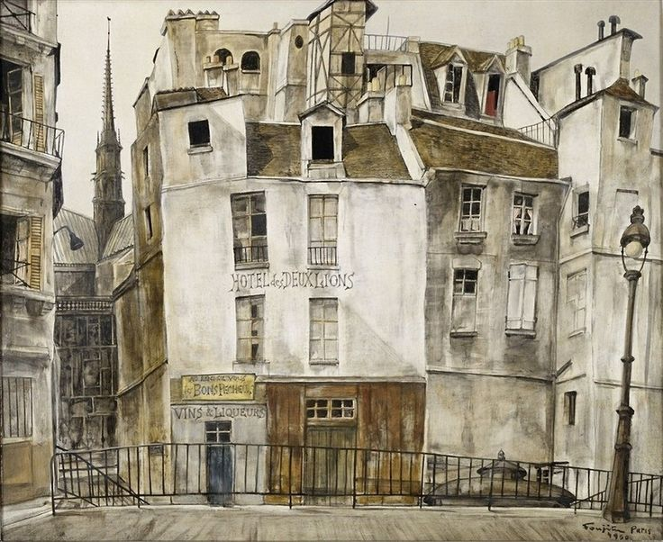 Leonard Tsuguharu Foujita (1886-1968) Le quai aux fleurs, Notre-Dame, Paris 1950.