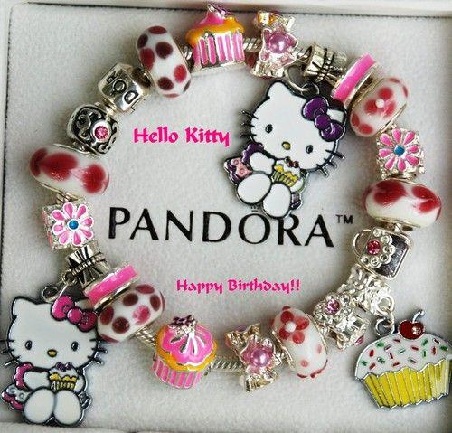 Authentic Pandora Bracelet ~All Sizes~ **Hello Kitty ** Happy Birthday!! | eBay