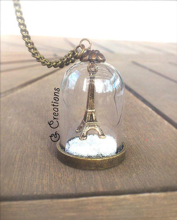 Eiffel Tower Glass Necklace