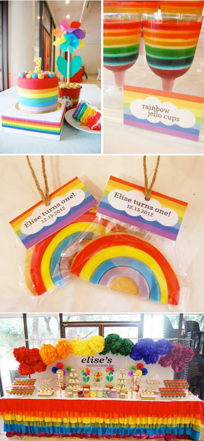 Rainbow Themed 1st Birthday Party - Kara's Party Ideas - The Place for All Things Party