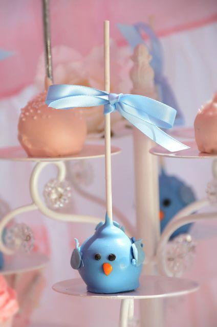 Blue bird cake pops at a Cinderella Party #cinderella #party