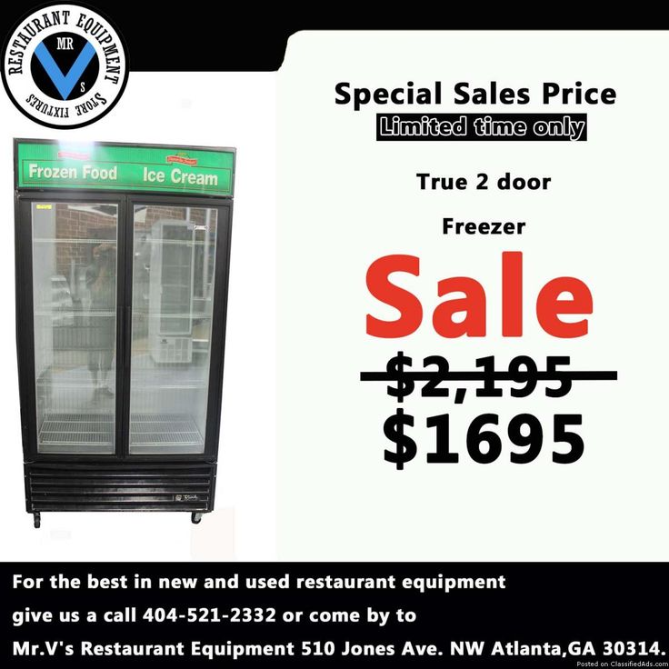 For the best in new and used restaurant equipment give us a call or come by to Mr.V's Restaurant Equipment. Big Sale on True 2 door Freezer while in stock. So don't miss out on this great deal. For more info contact show contact 404 521 2332 Deep Fryers, 6 eye range, Commercial Coolers, Commercial Freezers, Sandwich Preps, Convection Oven, Restaurant Equipment, Used Restaurant Equipment, New Restaurant Equipment, Gas Grill, Griddle, Mr.V's Restaurant Equipment, Atlanta, GA