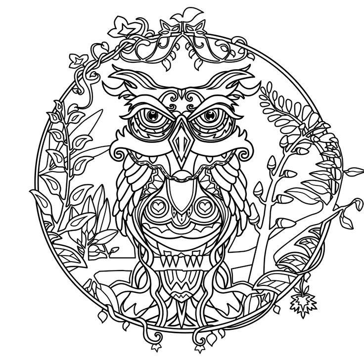 257 best owl coloring pages for adults images on pinterest ... - Animal Mandala Coloring Pages Owl