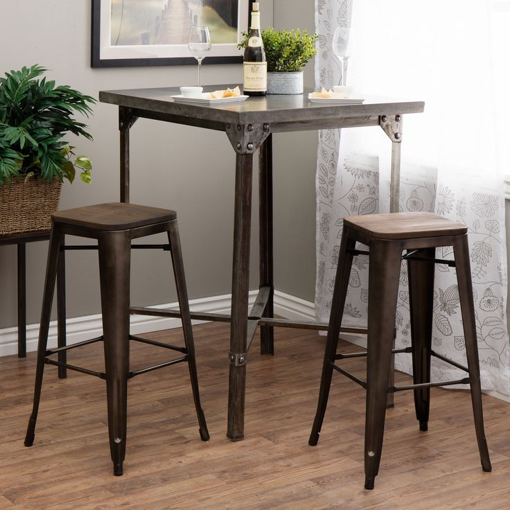 29 Inch Vintage Wood Bar Stool Dining Chair Counter Height: Tabouret 30-inch Vintage Wood Seat Bar Stool (Set Of 2