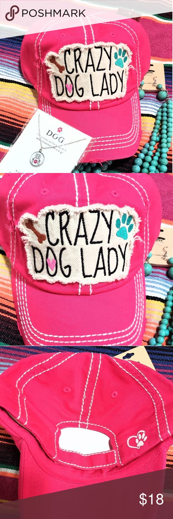 Crazy dog lady bright fuschia sassy hat cap worn Bright fuschia pink Crazy Dog Lady Paw print & bone accents Heart & pawprint on back Standard size Velcro closure HAT ONLY ACCESORIES & JEWELRY SOLD SEPARATELY  Desert wild child free spirit  Southwestern western style Cowgirl country girl rodeo Southern boutique clothing match *similar items available in my shop ❤Always happy to bundle Accessories Hats