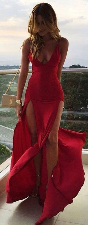 DOUBLE SLIT MAXI DRESS in RED... - Street Fashion