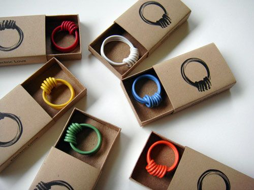 We use to make these. They are easy to make. Wrap the electrical wire around your finger two or three times leaving enough room to slip it on and off. Then bring the extra around to the top and wrap it to make the spiral look. Clip off the access and you have a cool ring.