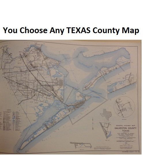 FREE SHIP USA You Choose Any Texas County Map 12 1 2x9 by merifair