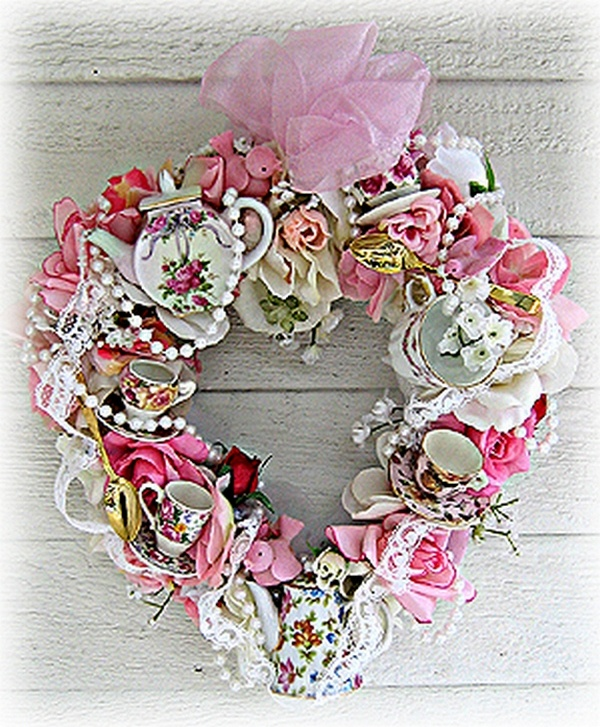 """Victorian Heart Shoppe heart wreath- Spectacular one-of-a-kind """"Victorian Teacup Wreaths"""", designed with treasures from the past and present. Each """"original"""" creation is assembled using roses, vintage teacups & china, jewelry, pearls, rhinestones, lace and vintage teaspoons from Treasured Heirlooms. ~By by Victoria Laurian Otto"""