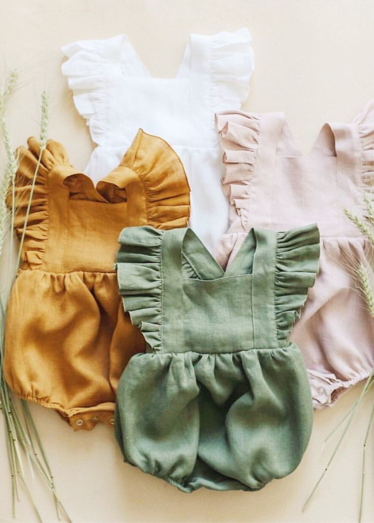 74f14933afb2 Handmade Vintage Style Flutter Sleeve Linen Baby Rompers ...