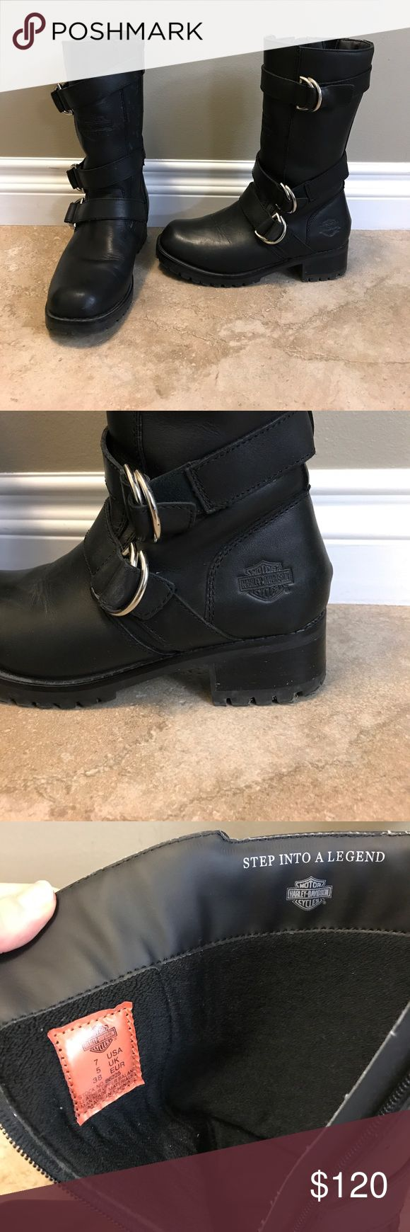 Women's Harley boots Leather Harley Davidson boots. Some water marks on inside of right boot near the zipper (may be able to have removed). VERY comfortable. Will be sad to let go of these! Harley-Davidson Shoes