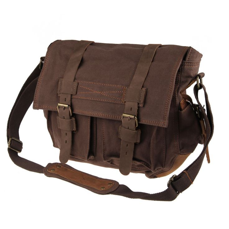 #Canvas Leather Old School #Messenger Bag Coffee