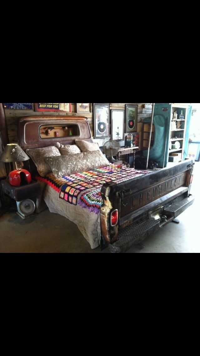 Headboard and foot board made from old truck!
